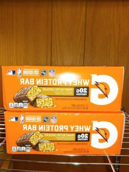 2 Gatorade Recover Whey Protein Bar Boxes Peanut Butter Choc