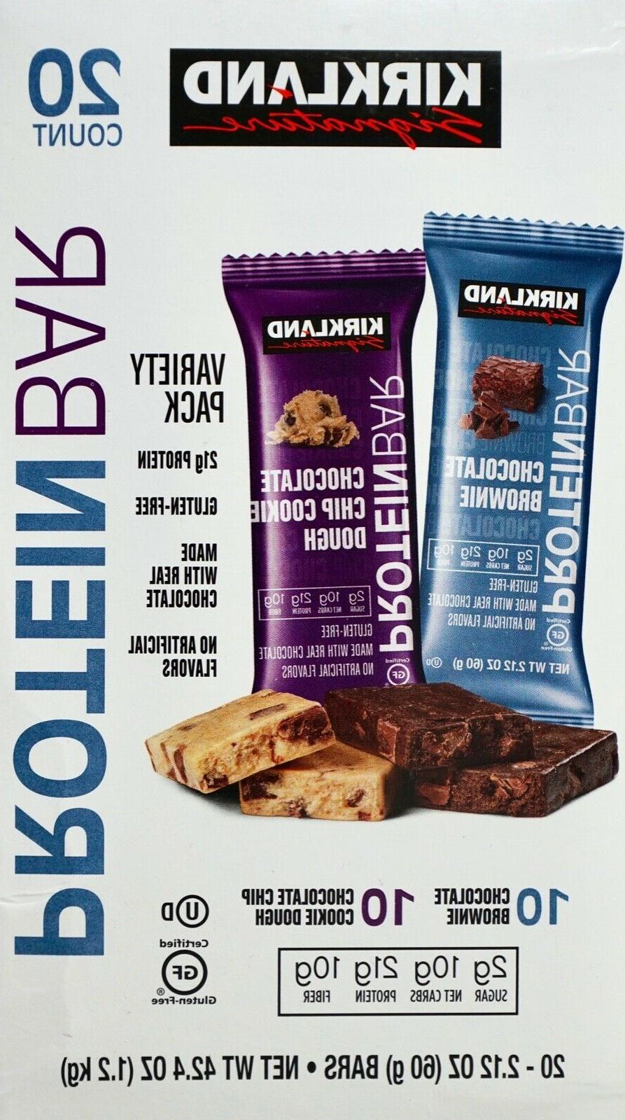 protein bar chocolate brownie and cookie dough